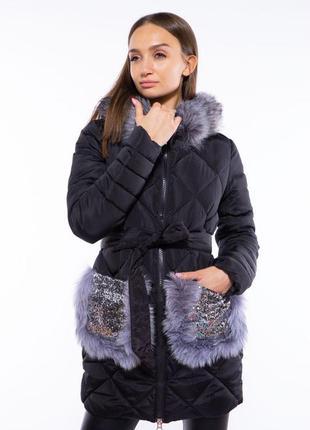 Куртка с пайетками на карманах 120pskl6235