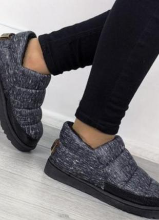 Короткие дутики!теплые слипоны! женские ботинки угги черные серые