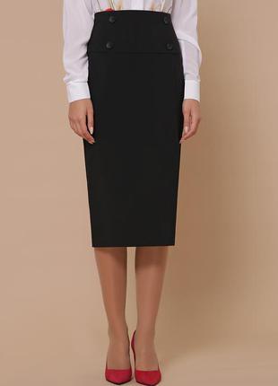 Стильная черная юбка ниже колена
