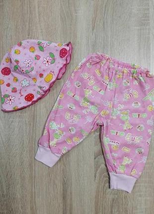 Комплектик для девочки: штанишки+панамочка