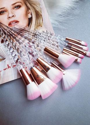 Набор единорог - 10 кистей для макияжа с витыми ручками