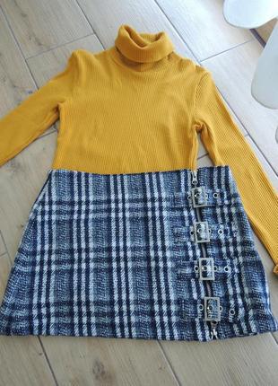 Трендовая шерстяная юбка в клетку с пряжками размер м