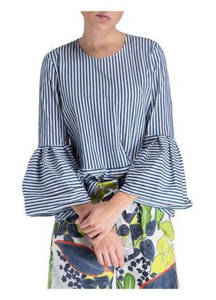 Блузка в полоску синего цвета из хлопка от luisa cerano