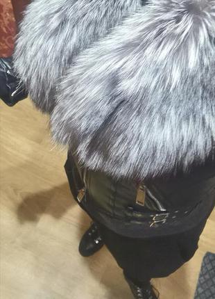 Кожаная куртка с мехом чернобурки dsquared2