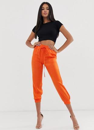 Оранжевые атласные штаны koco & k, капри, с сайта asos