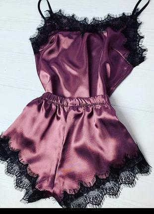 Атласная пижама сексуальная пижама с кружевом майка шорты с