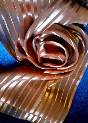 Красивый шелковый шарф беж длинный