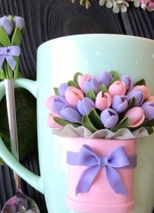 Чашка с декором из полимерной глины ручной работы