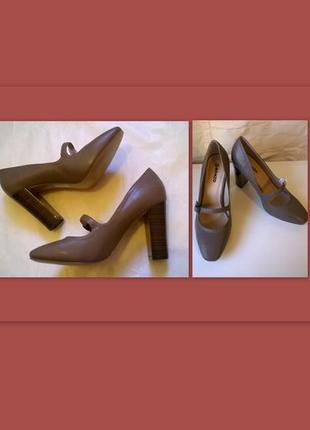 Элегантные классические туфли 38 р. 24,5 см. цвет тауп, oronzo
