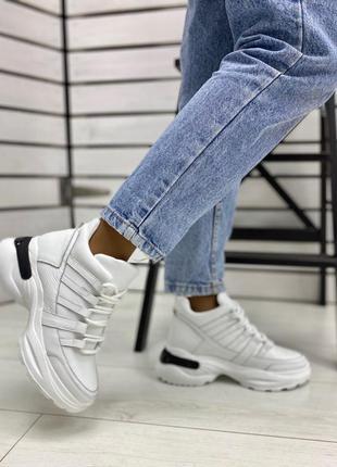 Кроссовки женские кожаные зимние демисезонные /кроссовки высок...