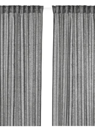 Гардины шторы IKEA LEJONGAP 3 метра темно-серые 100% лен