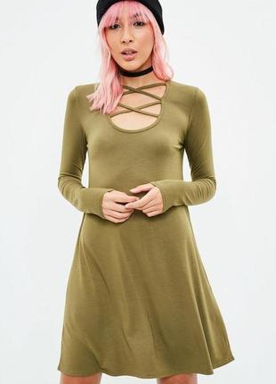 Шикарнейшое платье цвета хаки со шнуровкой   missguided