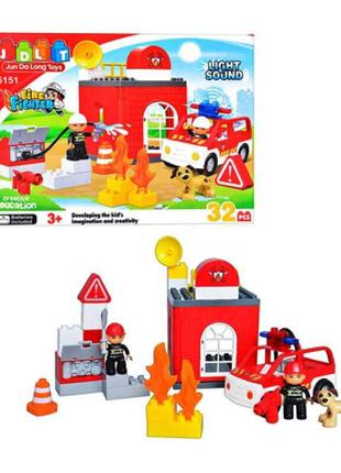 Конструктор для малышей JDLT 5151 Пожарная машина, крупные детали