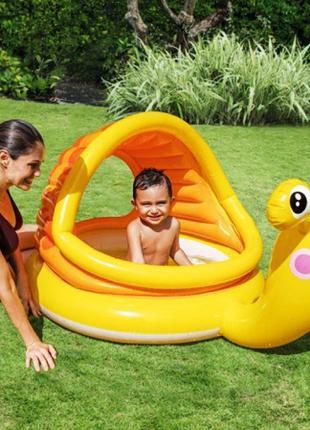 Детский надувной бассейн Intex 57124 Улитка с навесом, 145 х 102