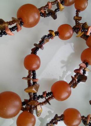 Авторское ожерелье из бисера и натуральных камней/бусы янтарь ...