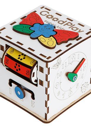 Кубик развивающий Бизикуб деревянный Малыш 12×12×12 K001