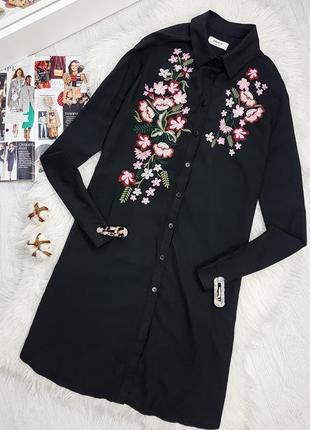 Акция 1+=3  черное платье - рубашка с вышивкой сукня - сорочка