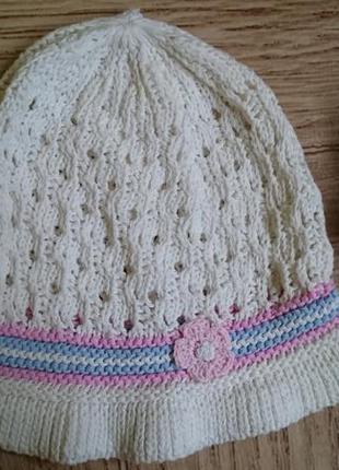 Красивая ажурная шапка, панама 3 - 7 лет, шапочка