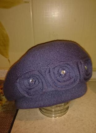 Женская теплая шапка, берет на осень зиму