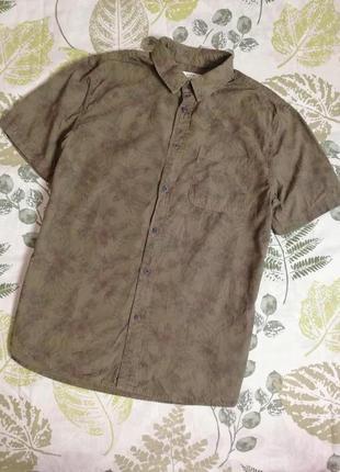 Распродажа!!! фирменная крутая рубашка хаки с тропическим прин...