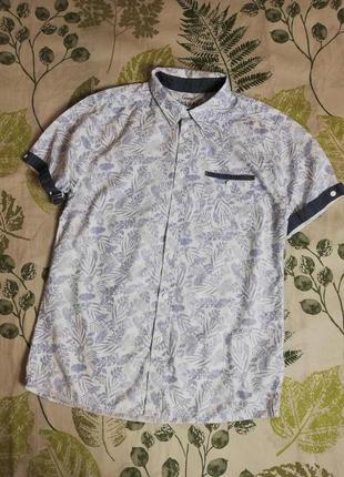 Фирменная крутая рубашка тропический принт george 100% коттон