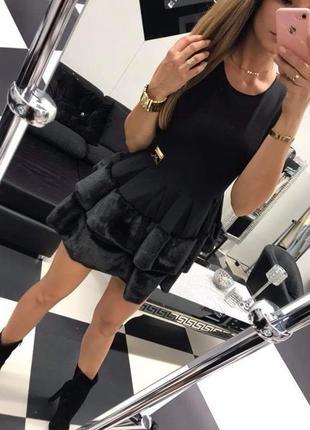 Шикарное черное вечернее платье с мехом Paparazzi fashion