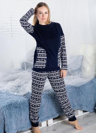Пижама теплая на байке синяя