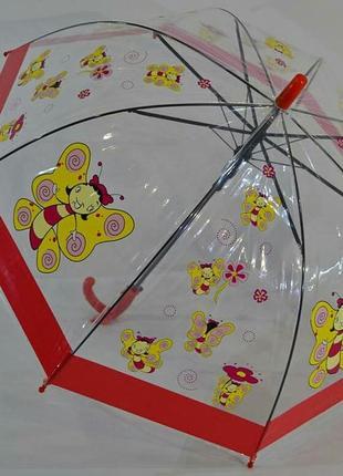 Прозрачный купольный зонтик для девочки на 2-6 л.