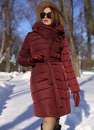 Зимнее пальто цвета марсала nui very
