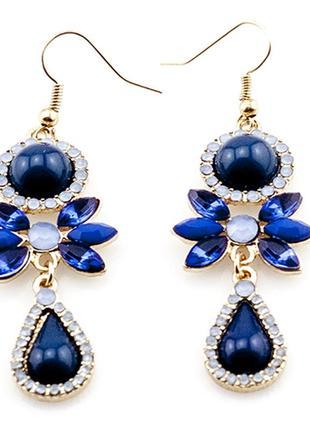 Красивые синие длинные серьги с камнями