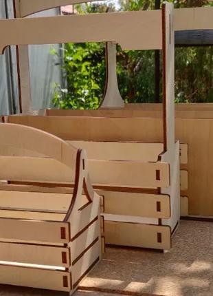 Корзина-ящик для цветов подарков деревянный ящик, кашпо, декупаж