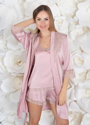 Комплект шелковый (пижама+халат) бежевый