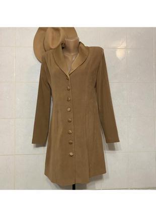 Пиджак песочный рыжий жакет на пуговицах платье пиджак коричневый