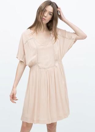 """Платье из плотного шифона с кружевом """"zara basic"""""""