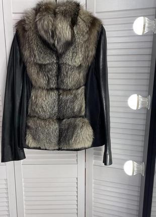 Кожаная куртка трансформер кожанка италия чернобурка натуральн...