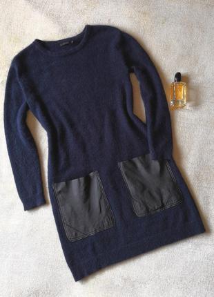2020 pantone шерстяное платье свитер с кожаными накладными кар...