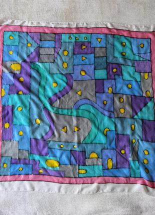 Jo. gall /92 винтажный подписной шелковый платок картина витраж