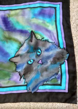 Шелковый платок батик с Котом ,авторская работа