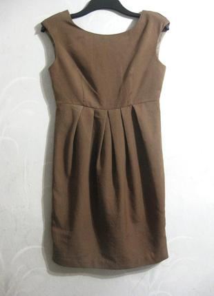 Платье футляр сарафан h&m коричневое золотистое офис