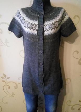 C&a . стильный удлиненный кардиган кофта свитер этно с коротки...