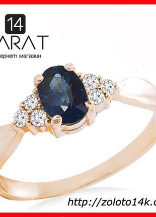 Золотое кольцо с сапфиром и бриллиантами 0.10 карат Желтое золото