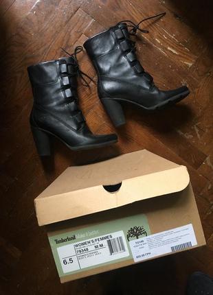Стильные кожаные ботинки осенние на шнуровке timberland