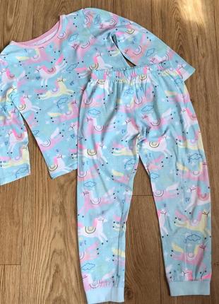 Комплект штаны и кофта для сна пижама хлопковые  единорог 4-5 лет