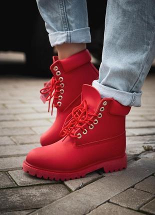 Шикарные женские ботинки timberland red / termo(зима)