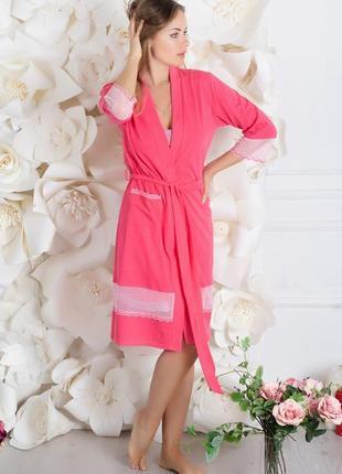 Хлопковый комплект (ночная рубашка + халат) розовый