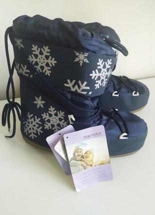 Синие луноходы сноубытсы дутики зима снегоходы moon boot