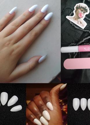Комплект накладных ногтей 24 шт. с клеем и пилочкой миндалевид...