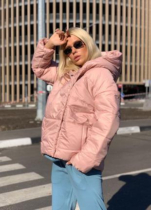 Куртка женская с капюшоном пудра