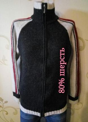 H&m . 80% шерсть . стильный свитер кофта на замочке