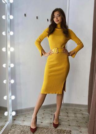 Платье горчица